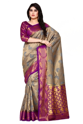 Mimosa Blue Art Silk Kanjivaram Style Saree With Blouse