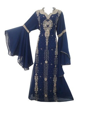 Blue Zari Stone Work Georgette Islamic Style Beads Embedded PartyWear Kaftan