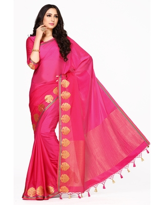 Mimosa Pink Kanjivaram Style Saree With Blouse