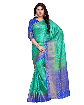 Mimosa Turquoise Blue Art Silk Kanchipuram Style Saree With Blouse