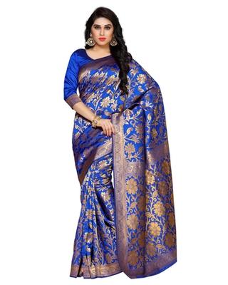 Mimosa Blue Art Silk Kanchipuram Style Saree With Blouse