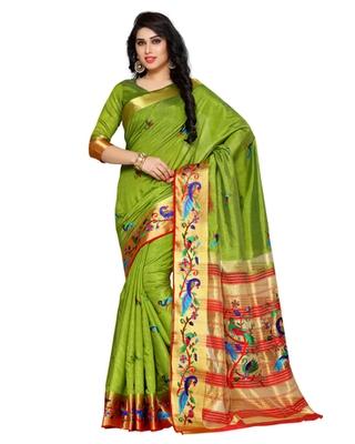 Mimosa Olive Tussar Silk Kanchipuram Style Saree With Blouse