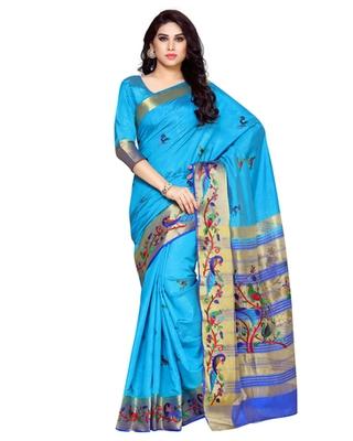 Mimosa Blue Tussar Silk Kanchipuram Style Saree With Blouse