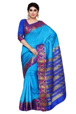 Mimosa Blue Tussar Silk Kanjivaram Style Saree With Blouse