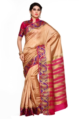 Mimosa Brown Tussar Silk Kanjivaram Style Saree With Blouse