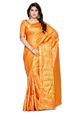 Mimosa Orange Art Silk Patola Kanjivaram Style Saree With Blouse