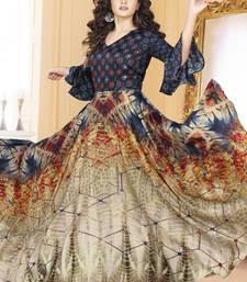 Buy Multi color Tussar Silk Ready made Anarkali Suits anarkali-salwar-kameez online
