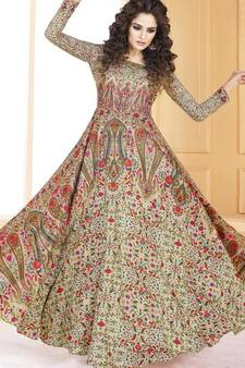 0b6d62a9246 Cream Tussar Silk Ready made Anarkali Suits