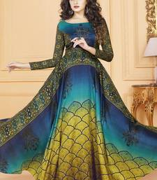 Buy Multicolor Tussar Silk Readymade Suits anarkali-salwar-kameez online