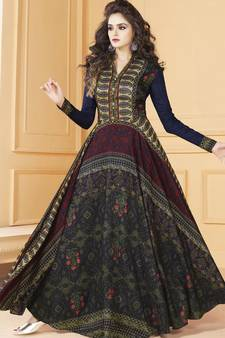 c042061bd21 Multicolor Tussar Silk Readymade Anarkali Suit
