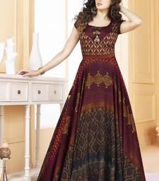 Buy Multicolor Tussar Silk Anarkali Readymade Suits anarkali-salwar-kameez online