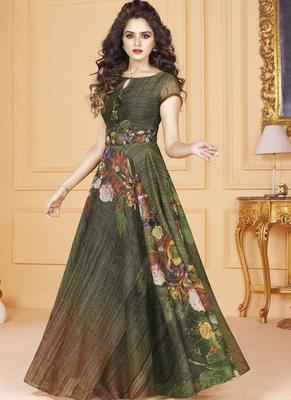 512546d2d7 Multi color Tussar Silk Ready made Anarkali Suits - Vasu Sarees - 2617442