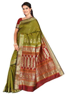 Green printed art-silk saree with blouse