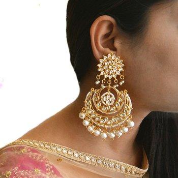 Krystal White Kundan Chandbali Earrings