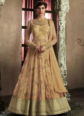 beige embroidered net semi stitched Anarkali Suit