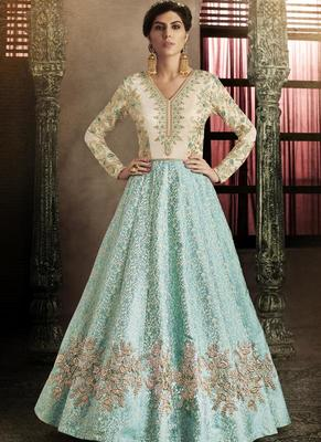 sky blue embroidered silk semi stitched Anarkali Suit
