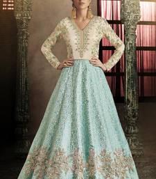 Buy sky blue embroidered silk semi stitched salwar with dupatta silk-salwar-kameez online