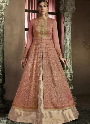 dark pink embroidered silk semi stitched pakistani salwar with dupatta