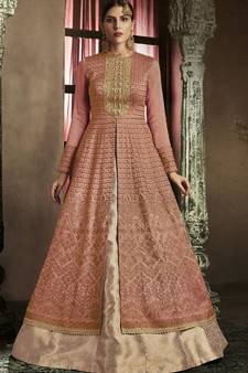 7e1f88304dad1 dark pink embroidered silk semi stitched pakistani salwar with dupatta. Shop  Now