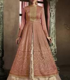 Buy dark pink embroidered silk semi stitched pakistani salwar with dupatta anarkali-salwar-kameez online