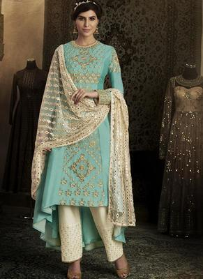sky blue embroidered silk semi stitched salwar with dupatta