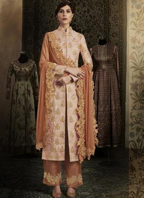 pink embroidered brocade semi stitched salwar with dupatta