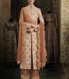 Buy pink embroidered brocade semi stitched salwar with dupatta women-ethnic-wear online