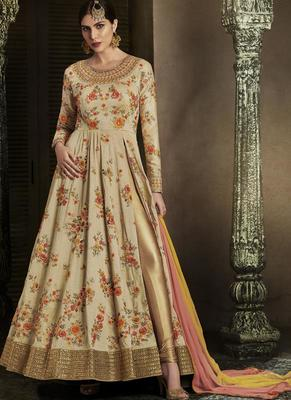 cream embroidered silk semi stitched salwar with dupatta