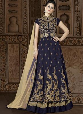 navy blue embroidered silk semi stitched salwar with dupatta