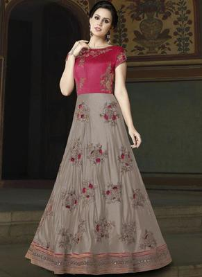 grey embroidered silk semi stitched Anarkali Suit