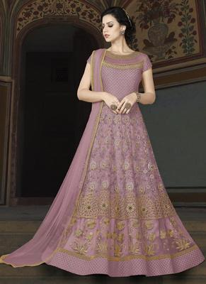 light violet embroidered net semi stitched Anarkali Suit