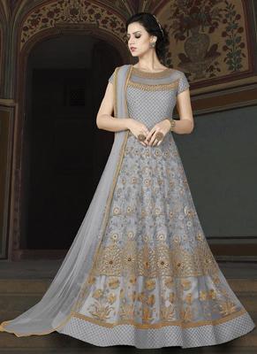 light grey embroidered net semi stitched salwar with dupatta