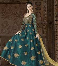 Buy dark green embroidered silk semi stitched salwar with dupatta wedding-salwar-kameez online