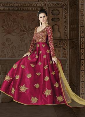 magenta embroidered silk semi stitched salwar with dupatta