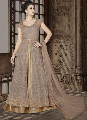 Beige embroidered net semi stitched Anarkali SUit