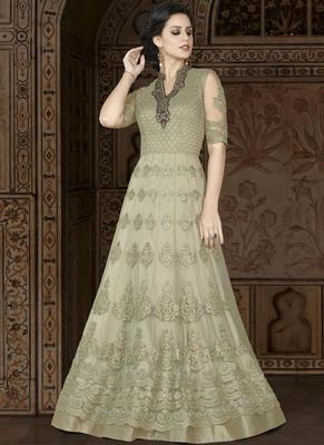 lime embroidered net semi stitched Anarkali Suit