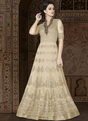 Cream Embroidered Net Semi Stitched Anarkali Suit