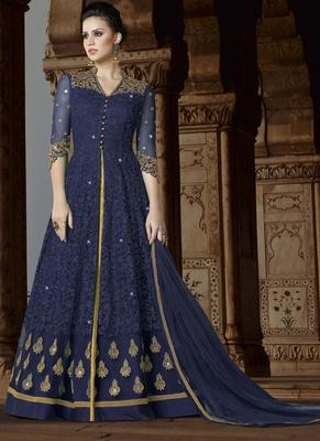 Navy Blue Embroidered Net Semi Stitched Anarkali Suit