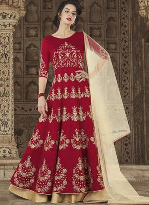 Blood Red Embroidered Silk Semi Stitched Salwar With Dupatta