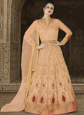 Peach Embroidered Net Semi Stitched Anarkali Suit