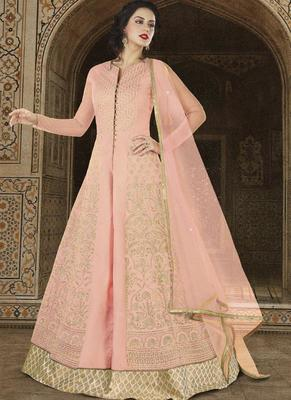 baby pink embroidered net semi stitched salwar with dupatta