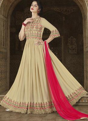 Cream Embroidered Satin Semi Stitched Anarkali Suit