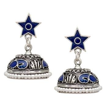 Blue Color Beads Oxidised Jhumka Earrings