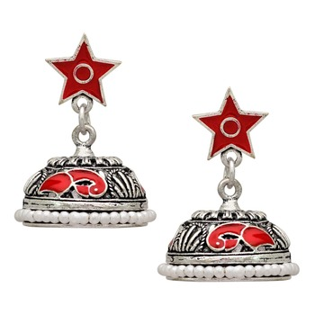 Red Color Beads Oxidised Jhumka Earrings