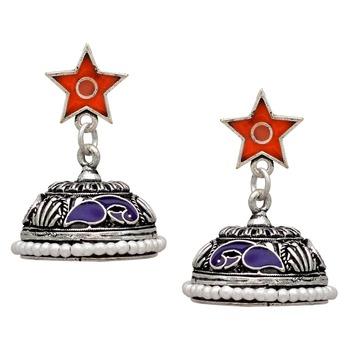 Blue & Orange Color Beads Oxidised Jhumka Earrings