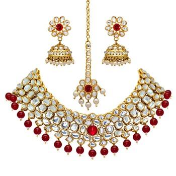 Maroon Color Imitation Pearl Kundan Necklace With Earring & Maang Tikka