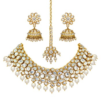 White Color Imitation Pearl Kundan Necklace With Earring & Maang Tikka
