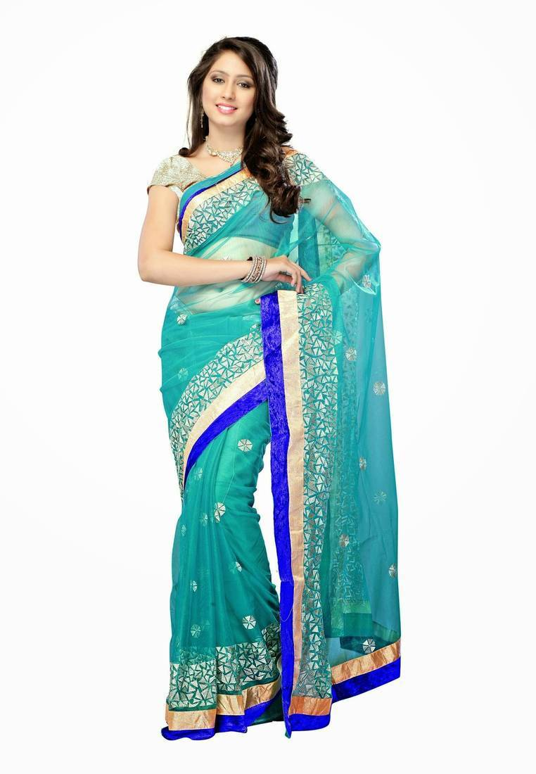 Buy Deepika Bollywood Replica Turquoise Blue Net party wear designer ...