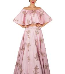 Buy Pastel Pink Taffeta Silk Party Wear Crop Top With Semi Stitched Poncho crop-top-lehenga online