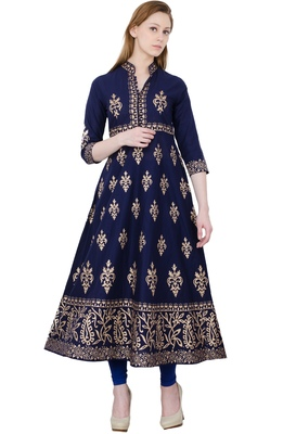 Navy blue printed cotton long kurtis